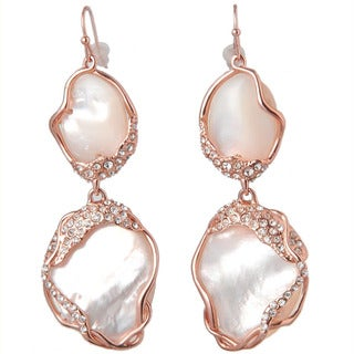 De Buman Gold Plated Mother Of Pearl Dangle Earrings