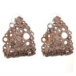 De Buman 18k Gold Overlay Cut-out Circle Stud Earrings