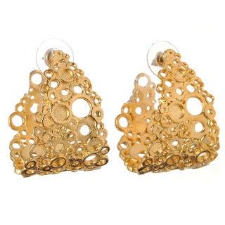 De Buman 18k Gold Overlay Cut-out Circle Stud Earrings