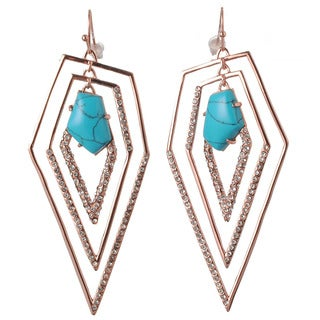 De Buman 18k Rose Gold Plated Turquoise Dangle Earrings