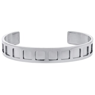 Stainless Steel Square Design Cut-out Cuff Bracelet