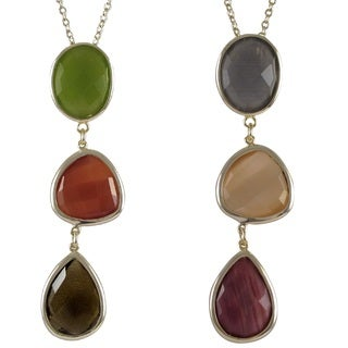Luxiro Goldtone Sterling Silver Multi-colored Graduated Semi-precious Gemstone Necklace