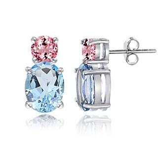 Glitzy Rocks Sterling Silver Blue Topaz and Pink Tourmaline Stud Earrings