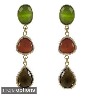 Luxiro Goldtone Sterling Silver Multi-colored Graduated Semi-precious Gemstone Dangle Earrings