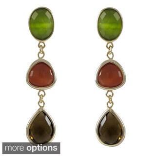 Luxiro Goldtone Sterling Silver Multi-colored Graduated Semi-precious Gemstone Dangle Earrings
