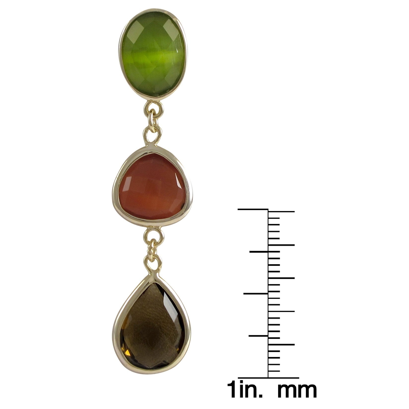 998358fc1e6b90 Shop Luxiro Goldtone Sterling Silver Multi-colored Graduated Semi-precious  Gemstone Dangle Earrings - On Sale - Free Shipping Today - Overstock -  9930989