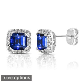 Collette Z Asscher-cut Blue and White Cubic Zirconia Sterling Silver Square Stud Earrings