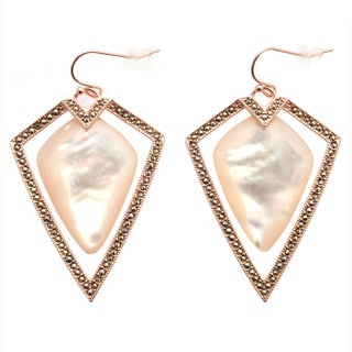 De Buman 18k Rose Gold Overlay Mother of Pearl and Marcasite Gemstone Earrings