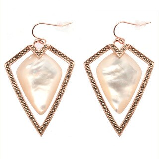 De Buman 18k Rose Gold Plated Mother of Pearl and Marcasite Gemstone Earrings