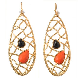 De Buman 18k Yellow Gold Plated Red Coral and Crystal Earrings