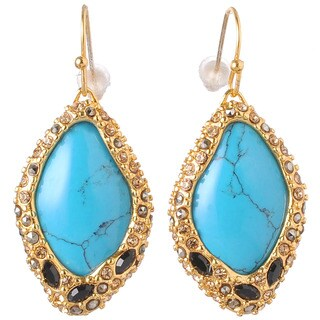 De Buman 18k Yellow Gold Plated Multiple Gemstone Dangle Earrings
