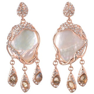 De Buman 18k Rose Gold Plated Mother of Pearl, Labradorite and White Czech Gemstone Earrings