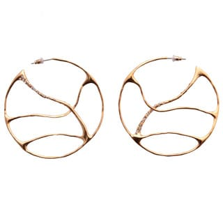De Buman 18k Yellow Gold Plated Crystal Hoop Earrings