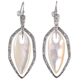 De Buman White Rhodium Plated Mother-of-Pearl & White Czech Earrings