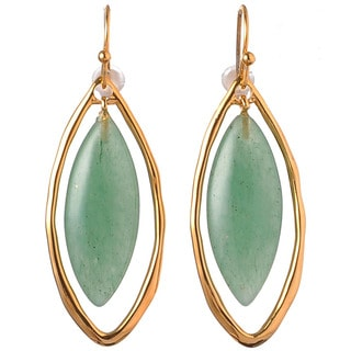 De Buman 18k Yellow Gold Plated or 18k Rose Gold Plated and Aventurine Gemstone Earrings