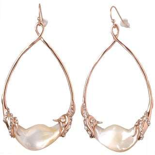 De Buman 18k Rose Gold Plated Mother of Pearl and White Czech Earrings