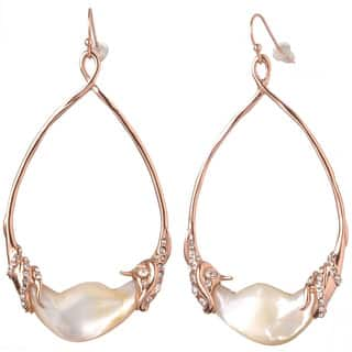 De Buman 18k Rose Gold Plated Mother of Pearl and White Czech Earrings https://ak1.ostkcdn.com/images/products/9931003/P17087078.jpg?impolicy=medium