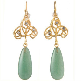 De Buman 18k Yellow Gold Plated Aventurine and Crystal Earrings