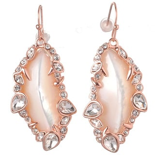 De Buman 18k Rose Gold Plated Mother of Pearl Dangle Earrings