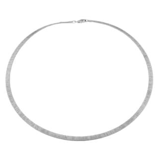 Argento Italia Sterling Silver 5-mm Textured Omega Style Necklace (18 inches)