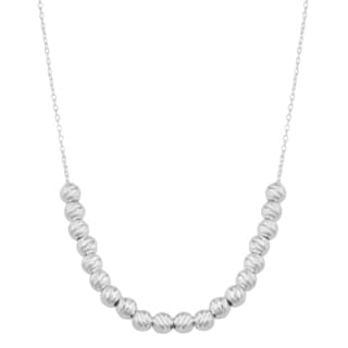 Argento Italia Sterling Silver Stunning Diamond Cut Bead 18 Inch Necklace