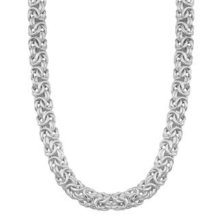 Argento Italia Rhodium-plated Sterling Silver Byzantine 18-inch Chain Necklace