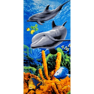 Vibrant Dolphin Cotton Beach Towel