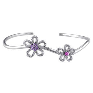 Miadora Signature Collection 14k White Gold Pink Sapphire, Amethyst and 1/4ct TDW Diamond Flower Bangle (G-H, SI1-SI2)