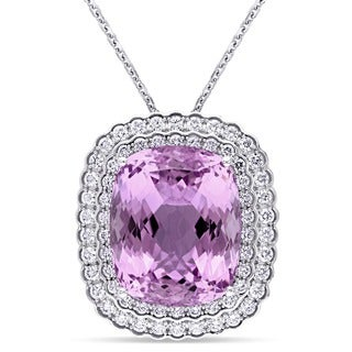 Miadora Signature Collection 14k White Gold Cushion-cut Kunzite and 1 7/8ct TDW Diamond Necklace (G-H, SI1-SI2)
