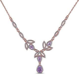 Miadora Rose-plated Silver Gemstone 1/5ct TDW Diamond Leaf Drop Necklace (G-H, I2-I3)