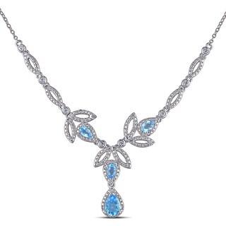 Miadora Sterling Silver Topaz 1/5ct TDW Diamond Leaf Drop Necklace (G-H, I2-I3)