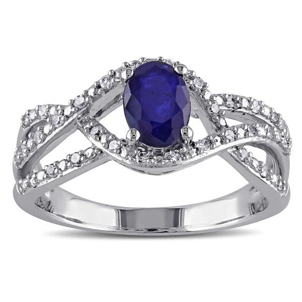 Miadora 10k White Gold Oval-Cut Blue Sapphire and 1/6ct TDW Diamond Interlaced Ring