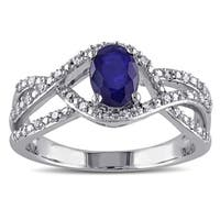 Miadora 10k White Gold Oval-Cut Blue Sapphire and 1/6ct TDW Diamond Interlaced Ring