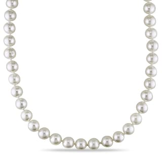 Miadora Cultured Akoya Pearl Strand Necklace with 14k Yellow Gold Fish-Eye Clasp