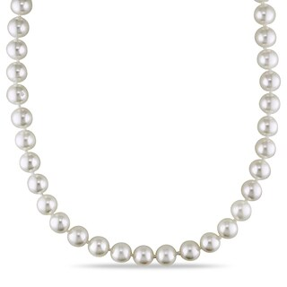 Miadora 14k Yellow Gold Cultured Akoya Pearl Strand Necklace (7-7.5mm)