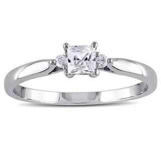 Miadora 10k White Gold Created White Sapphire Diamond Accent 3-stone Ring