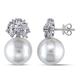 Miadora 18k White Gold South Sea Pearl and 1ct TDW Diamond Earrings (H-I, I1-I2) (12-13 mm)