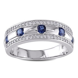 Miadora 10k White Gold Sapphire and 1/4ct TDW Diamond Vintage Wedding Band (G-H, I1-I2)