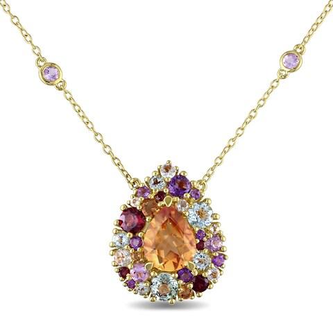 Miadora Yellow-plated Silver Multi-gemstone Teardrop Necklace