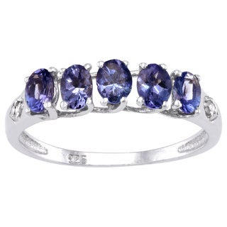 Beverly Hills Charm Sterling Silver 1ct Tanzanite and Diamond Accent Ring (I-J, I2-3)