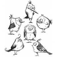 """Tim Holtz Cling Rubber Stamp Set 7""""X8.5""""-Bird Crazy"""