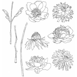 "Tim Holtz Cling Rubber Stamp Set 7""X8.5""-Flower Garden"