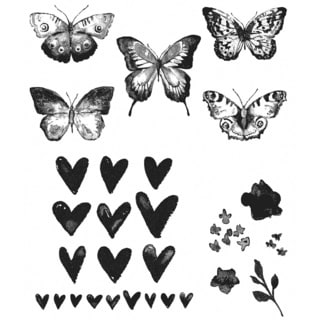 """Tim Holtz Cling Rubber Stamp Set 7""""X8.5""""-Watercolor"""