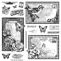 """Hot Off The Press Acrylic Stamps 8""""X8"""" Sheet-Postcards"""