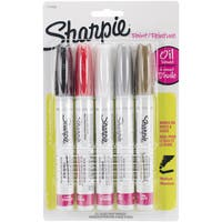 Sharpie Medium Point Oil-Based Opaque Paint Markers 5/Pkg-Black, Gold, Red, Silver And White