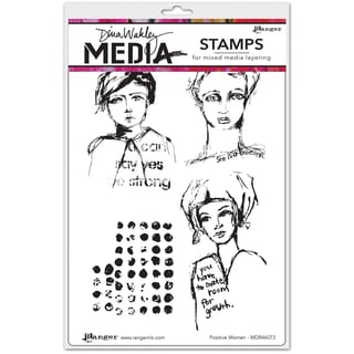 "Dina Wakley Media Cling Stamps 6""X9""-Positive Women"