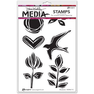 "Dina Wakley Media Cling Stamps 6""X9""-Woodcuts"