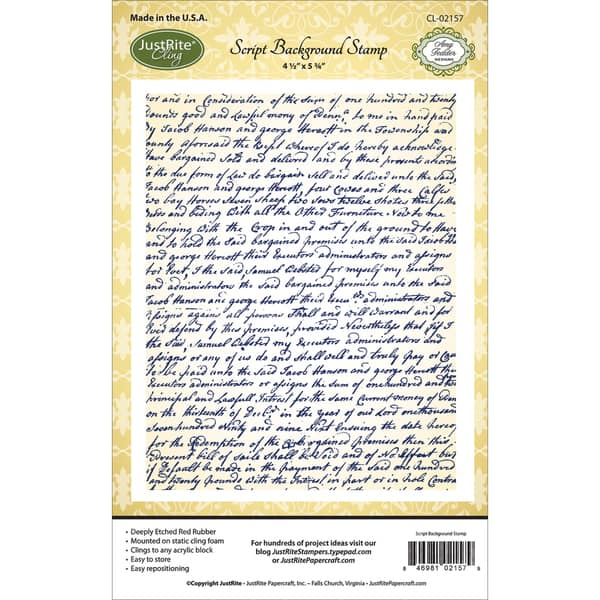 """Shop JustRite Papercraft Cling Background Stamp 4.5""""X5.75""""-Script -  Overstock - 9931276"""
