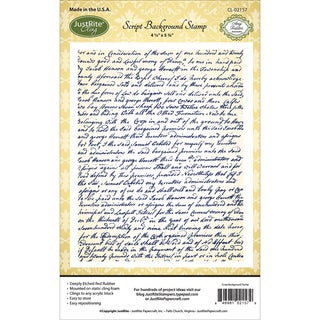 "JustRite Papercraft Cling Background Stamp 4.5""X5.75""-Script"