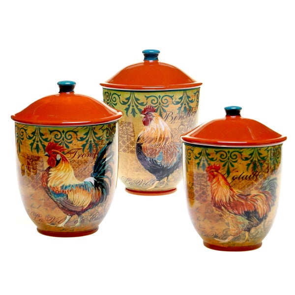 rustic rooster canister 3 piece set free shipping certified international vintage rooster 3 pc kitchen